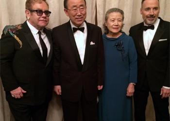 Пан Ги Мун и Элтон Джон с супругами. Фото:@UN_Spokesperson